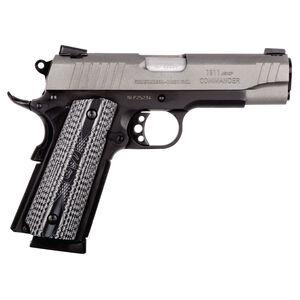 "Taurus 1911 Commander Single Action Semi Automatic Pistol .45 ACP 4.2"" Barrel 8 Round Magazine Novak Style Sights VZ Grips Cerakote Gray Slide/Matte Black Frame Finish"