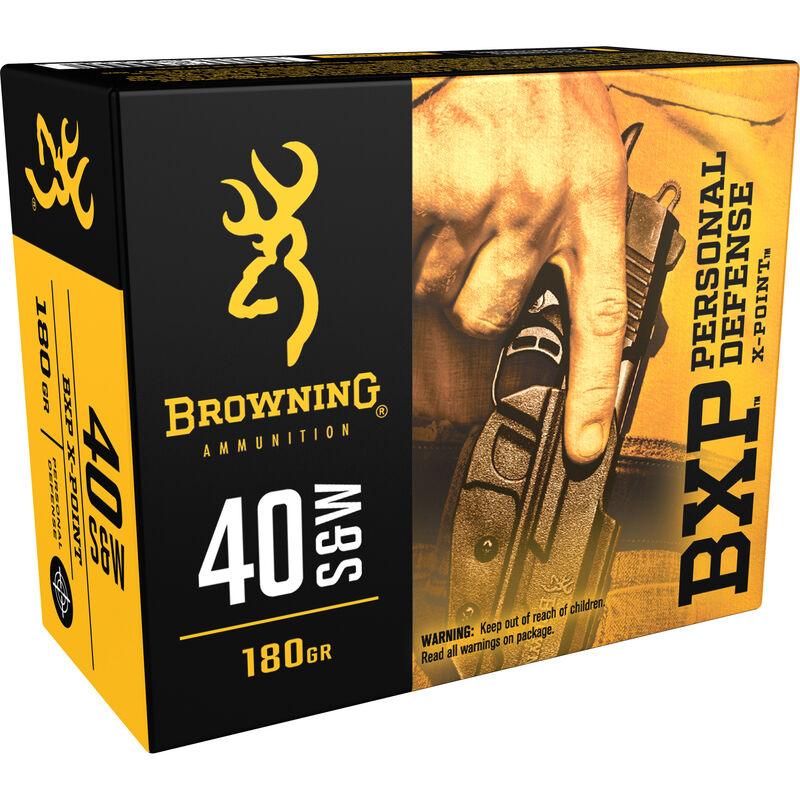 Browning BXP Personal Defense .40 S&W Ammunition 200 Rounds JHP 180 Grains B191700401