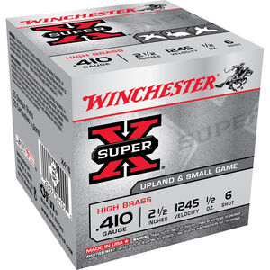 "Winchester Super X Game Load .410 Bore Ammunition 250 Rounds 2.5"" #6 Lead 1/2 Ounce X416"