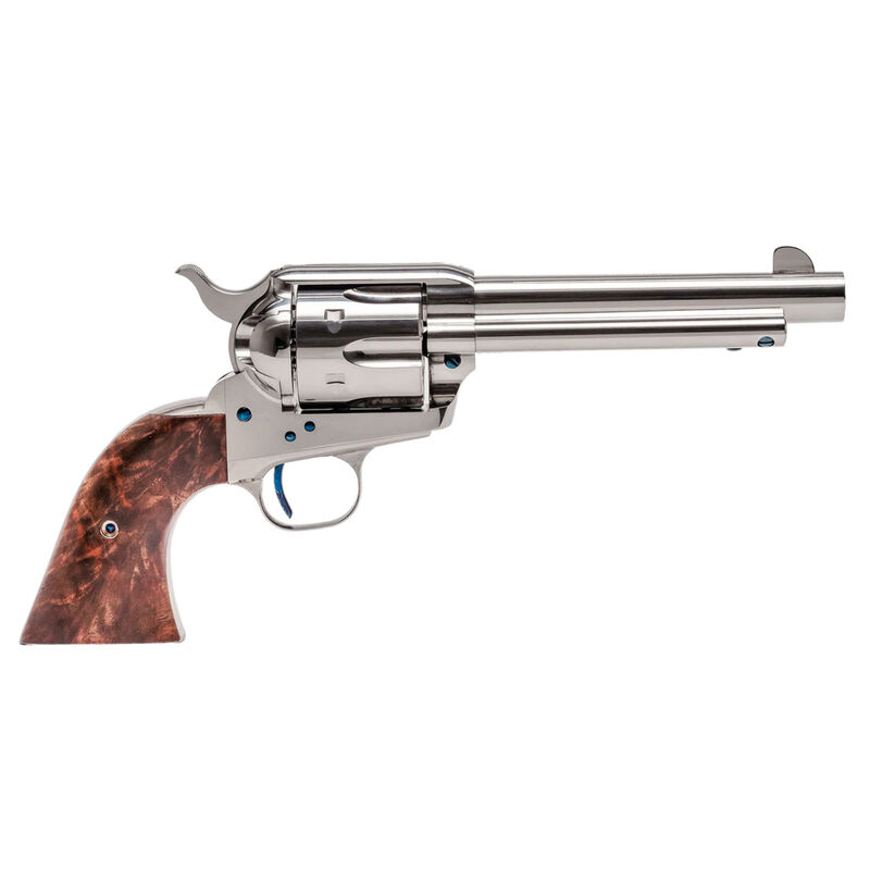 """Standard Manufacturing .45 Long Colt Single Action Revolver 5.5"""" Barrel 6 Rounds Fixed Sights One Piece Grip Nickel Plated Finish"""