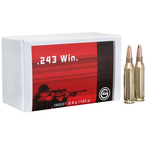 GECO .243 Winchester Ammunition 20 Rounds 105 Grain Full Metal Jacket