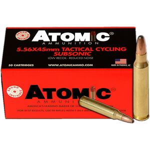 Atomic Tactical Cycling 5.56 NATO Sub-Sonic Ammunition 50 Rounds 112 Grain SPRN 1050fps