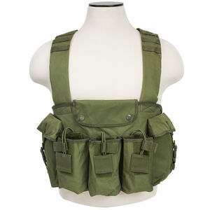 NcSTAR AK Chest Rig Holds 6 AK style Magazines and 2 Addition Item Pouches Nylon Green