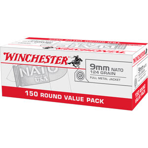 Winchester USA 9mm NATO Ammunition 150 Rounds 124 Grain Full Metal Jacket 1200fps
