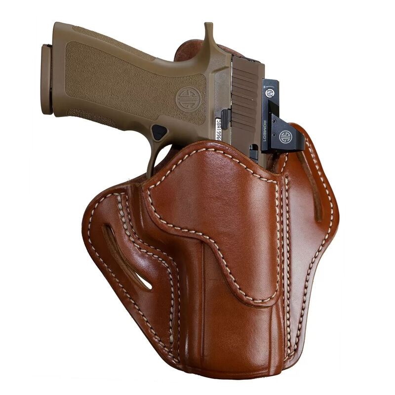 1791 Gunleather Optic Ready Open Top Multi-Fit 2.4 OWB Belt Holster for Full Size Large Frame Semi Auto Models Right Hand Draw Leather Classic Brown