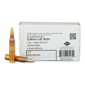 MEN 5.56 NATO Ammunition 30 Rounds FMJ 56 Grains MEN556A