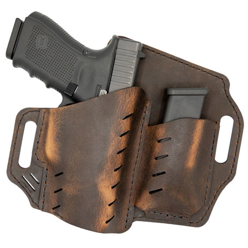 Versacarry Guardian Holster with Magazine Pouch for GLOCK 17/19 OWB Distressed Brown Leather GM1BRN
