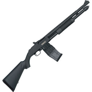 "Mossberg 590M Mag-Fed Pump Action Shotgun 12 Gauge 2-3/4"" Chamber 18.5"" Heavy Walled Barrel 10 Round DBM Heat Shield/Tri-Rail/Synthetic Stock Matte Black"