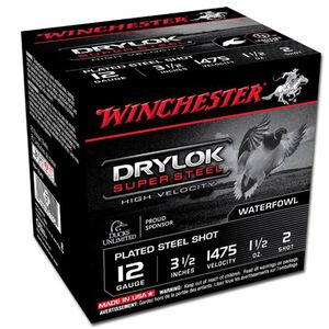 "Winchester Drylok 12 Ga 3.5"" #2 Steel 1.5oz 25 Rounds"