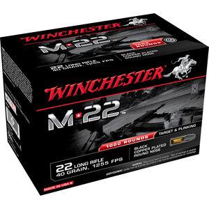 Winchester M-22 .22LR Ammunition 40 Grain Black Copper Plated LRN 1255 fps