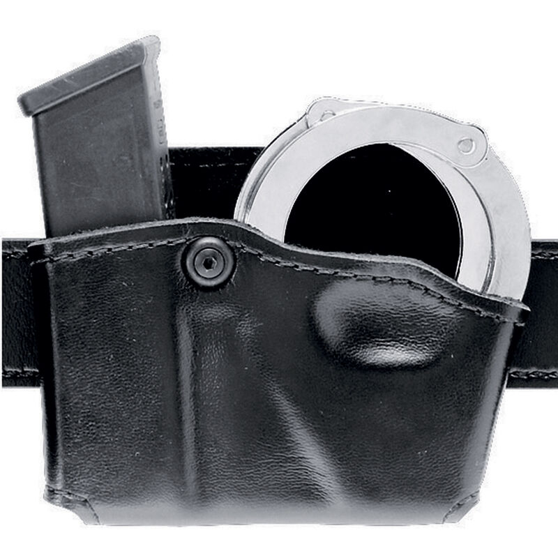 Safariland Model 573 Open Top Magazine/Handcuff Pouch Group 3 Leather Look Left Hand Draw Plain Finish Black 573-53-22