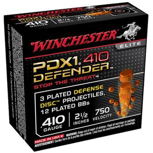 """Winchester .410 Bore Ammunition 10 Rounds 2.5"""" 3 Plated Defense Disc and 12 Plated BBs"""