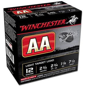 "Winchester AA Target 12 Gauge Ammunition 2-3/4"" #7.5 Lead Shot 1-1/8 oz 1145 fps"