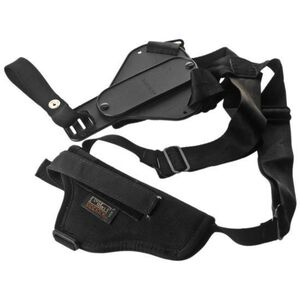 """Uncle Mike's Sidekick Scoped 7""""-8.5"""" Barrel Medium/Large Double Action and 6""""-7.5"""" Barrel Single Action Revolvers Vertical Shoulder Holster Right Hand Nylon Black 85041"""