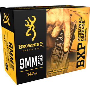 Browning BXP Personal Defense 9mm Luger Ammunition JHP 147 Grains