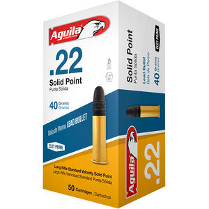 Aguila Standard Velocity .22 Long Rifle Ammunition 50 Rounds 40 Grain Lead Solid Point 1130fps