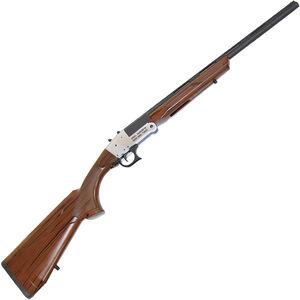"RIA Imports Traditional Single Shot 20 Gauge Break Action Shotgun 20"" Barrel with Slug Choke 1 Round 3"" Chamber Wood Grain Polymer Stock Silver/Blued Finish"