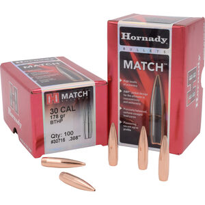 "Hornady .30 Caliber .308"" Rifle Bullets 100 Count Match BTHP 178 Grains 30715"
