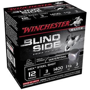 """Winchester Blind Side 12 Gauge Ammunition 3"""" #3 Hex Steel Shot 1-3/8 oz 1400 fps"""