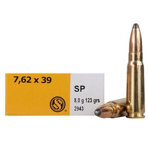 Sellier & Bellot 7.62x39 Ammunition 123 Grain Jacketed Soft Point 2437 fps