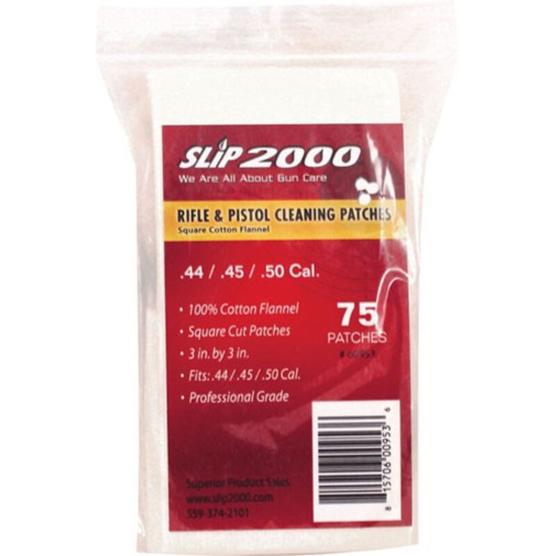 """Slip 2000 Gun Cleaning Patches .44/.45/.50 Caliber 3"""" Square Cotton Flannel 75 Count"""