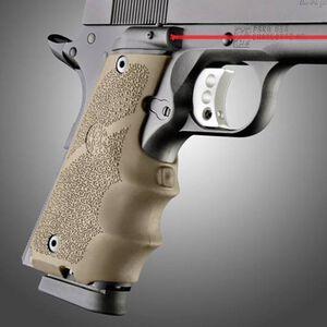 Hogue Red Laser Sight Enhanced Grip 1911 Full Size Rubber Flat Dark Earth 45083