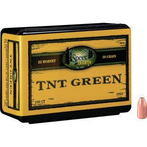 """Speer TNT Green Projectiles .224"""" 30 Grain Lead Free Hollow Point 100 Count"""