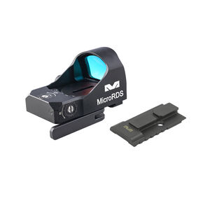 Meprolight MicroRDS Red Dot Micro Sight With S&W M&P Optic Ready Pistol Quick Detach Adapter and Backup Sights Black