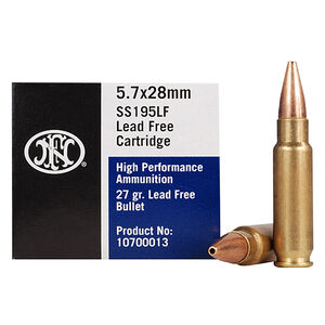 FNH USA SS195LF 5.7x28mm 27 Grain JHP 2000 Round Case