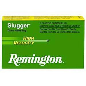 Remington Arms,  12 Gauge Ammunition 5 Shells, 382 Grains, Rifled Slug, 2 3/4""