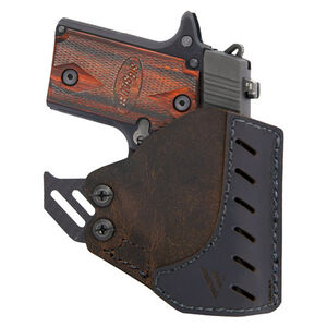 VersaCarry Adjustable Pocket Holster Fits Most Single Stacked/Sub Compact Semi Auto Pistols With Lasers Ambidextrous Leather Distressed Brown