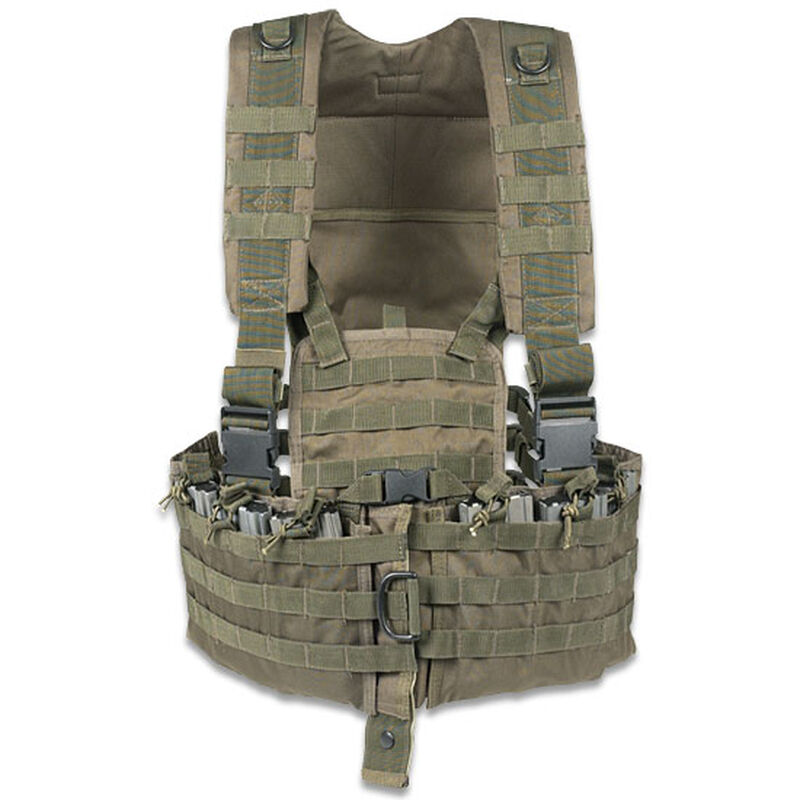 ModGear Tactical Magazine Chest Rig OD Green Six Mag Pouches Hydration Bladder Pocket MOLLE Compatible 20-8400004000