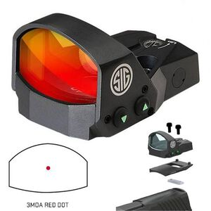SIG Sauer Romeo1 1x30 Reflex Sight 3 MOA Red Dot Reticle 1 MOA Adjustments CR1632 Battery Handgun Adapter Pack Included Black