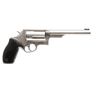 "Taurus Judge Double Action Revolver .45 Long Colt/.410 Bore 2.5"" Chamber 6.5"" Barrel 5 Round Fixed Red Fiber Optic Front Sight/Fixed Rear Sight Ribbed Rubber Grip Matte Stainless Finish"