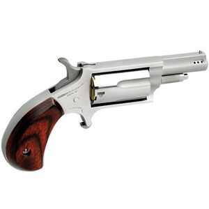 """North American Arms Single Action Revolver .22 Magnum 1.625"""" Ported Barrel 5 Rounds Wood Grips Stainless Finish NAA-22M-P"""