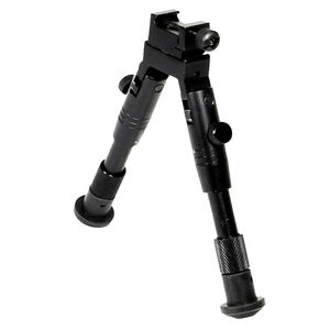 """Leapers UTG Shooter's SWAT Bipod 6.2"""" to 6.7"""" Height Aluminum Rubber Feet Black TL-BP28S"""