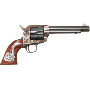"Cimarron Man With No Name .45 LC Single Action Revolver 5.5"" Barrel 6 Rounds Hollywood Series Walnut Grips with Rattlesnake Inlay Case Color/Blued Finish"