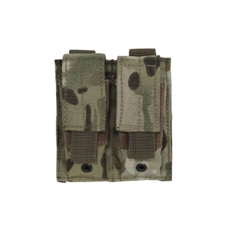 Voodoo Tactical Double Pistol Magazine Pouch Velcro Closure MOLLE Compatible Nylon Woodland Camo