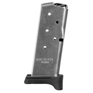 Beretta APX Carry Magazine 9mm Luger 6 Rounds Steel Body Polymer Base Plate Black Finish
