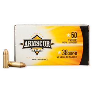 Armscor USA .38 Super Ammunition 50 Rounds FMJ 125 Grains F AC 38SUPER-1N