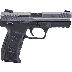 "SAR USA ST45 .45 ACP Semi Auto Pistol 4.5"" Barrel 12 Rounds 3-Dot Sights Polymer Frame Two Tone Stainless/Black Finish"