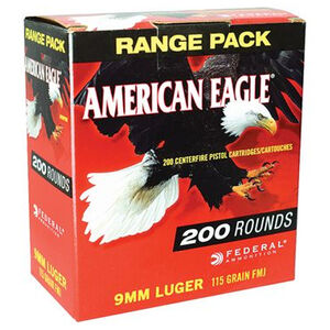 Federal American Eagle 9mm Luger Ammunition 200 Rounds FMJ 115 Grains