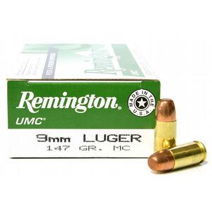 Remington 9mm Luger UMC Ammunition 50 Rounds, MC, 147  Grains