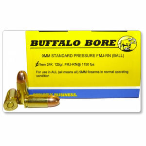 Buffalo Bore 9mm Luger Ammunition 20 Rounds FMJ RN 125 Grains 24K/20