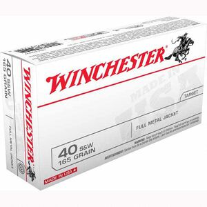 Winchester USA .40 S&W Ammunition 500 Rounds, FMJFN, 165 Grain