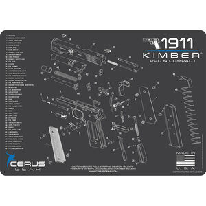 "Cerus Gear Kimber 1911 Pro/Comp Schematic ProMat Handgun Size 12""x17"" Synthetic Grey/Blue"