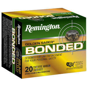 Remington Golden Saber Bonded 9mm Luger +P Ammunition 124 Grain Bonded Nickel Plated Brass JHP 1125 fps
