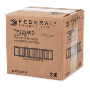 Federal V-Shok .22-250 Remington Ammunition 200 Rounds Speer Lead Free TNT HP 43 Grains P22250D