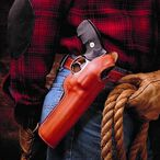 """DeSantis Dual Angle Hunter S&W K, L Frame Revolvers with 4"""" Barrels, Colt Python with 4"""" Barrels and Similar Belt Holster Right Hand Leather Tan"""