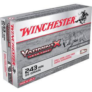 Winchester Varmint X .243 Winchester Ammunition 20 Rounds Lead Free PT 55 Grains X243PLF